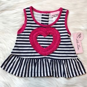 Little Lass Navy & White Stripe Peplum Tank Top